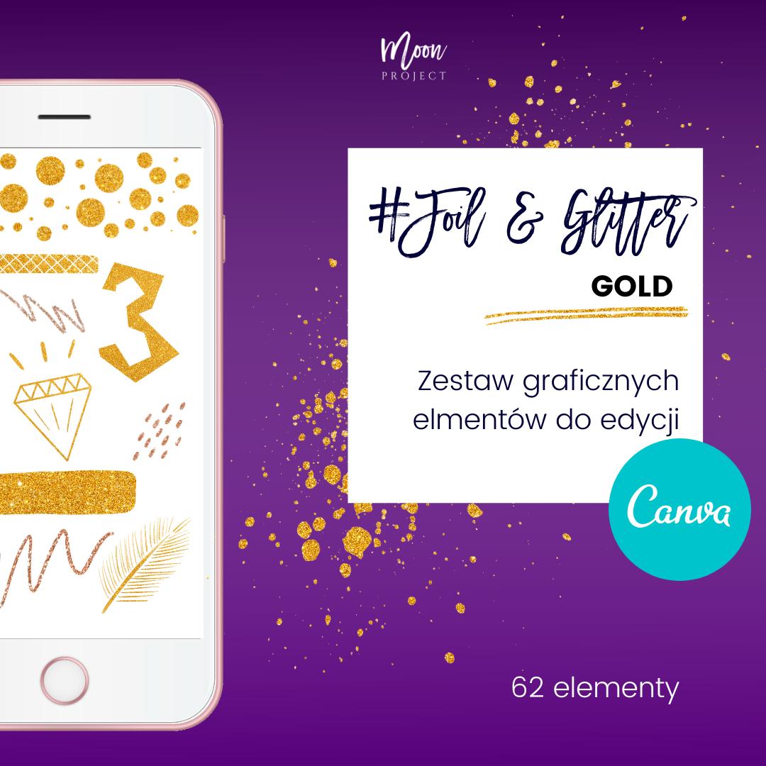 gold, złoto, brokat, złote elementy, brokatowe elementy do Canvy